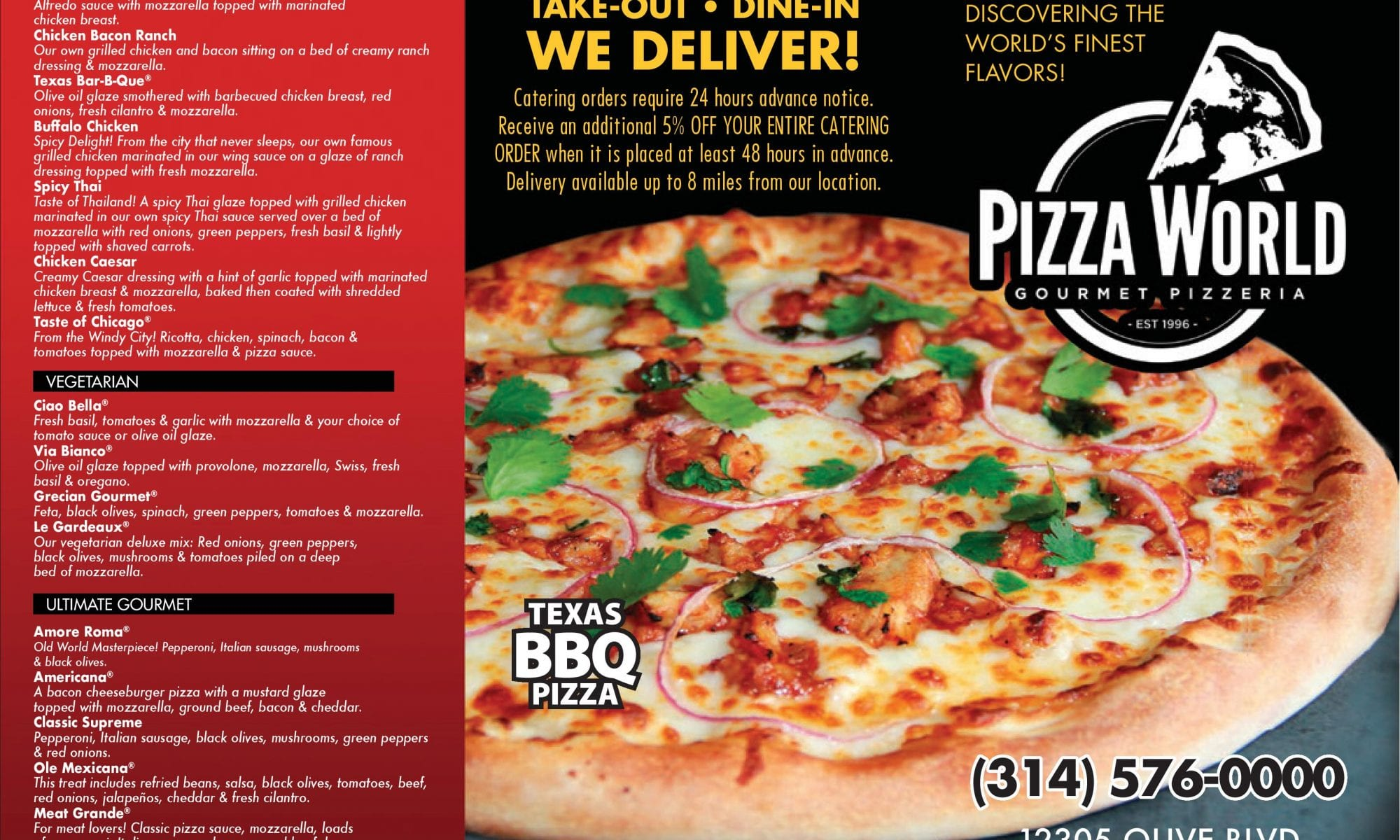 Pizza World in Creve Coeur offers catering menus